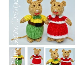 Knitted Mice, Animal Knitting Pattern, Doll Knitting Pattern, Knit Doll, Toy Knitting Pattern, Knitting Pattern, Animal Art, Knitted Toys
