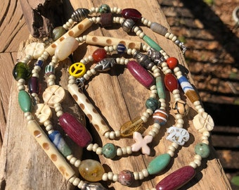 Peace sign necklace trade bead necklace African tribal beads Beade Necklace Summer beaded necklace boho style gypsy statement necklace