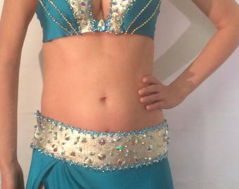 Turquoise with gold metallic leather belly Dance Costume