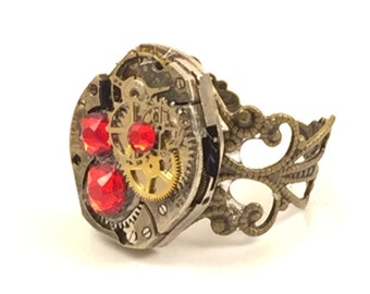 RED Steampunk Vintage Ring