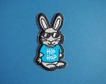 Hip Hop Bunny Iron On Patch, Cute Rabbit Patch, Funny Iron On Patches, Animal Patches, Jacket Patch, Music Patch, Blue Embroidered Patch