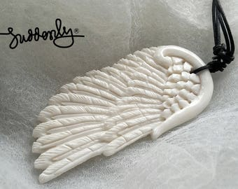 Beautiful White Angel Wing Necklace / Made of Bone