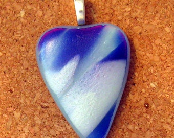 Blue Dichroic Heart Pendant - Fused Glass Jewelry - Dichroic Pendant - Dichroic Jewelry - Fused Glass Pendant - Dichroic Necklace