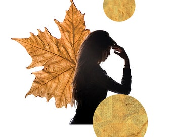 DIGITAL COLLAGE A4 montage, female silhouette, lunar, full moon, autumnal art, gold, earthy, maple leaf, angelic, luminosity 'Invocation'