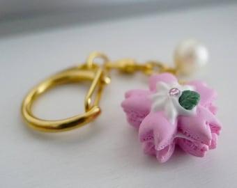 Sakura Macaron Gold Charm | Cherry Blossom | Polymer clay