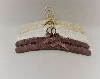 Vintage Padded Hangers, Beige and Brown Colored, Set of 6