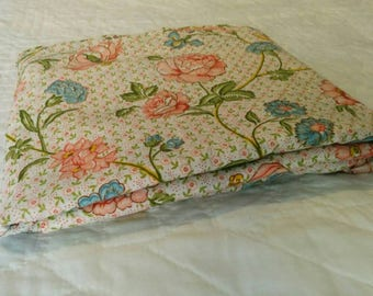 Vintage Full Size Floral Flat Sheet - Pink and Blue Flowers - Retro Sheet, Kitsch Bedroom, Country Chic