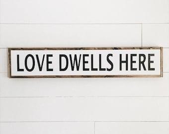 Ready to ship | Love dwells here | custom framed wood sign | fixer upper decor | farmhouse wood sign |