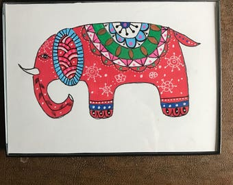 Red elephant painting. 5x7inches