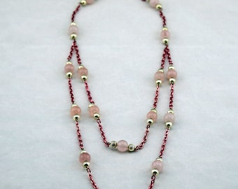 Rose Quartz with Bright Silver Double Necklace