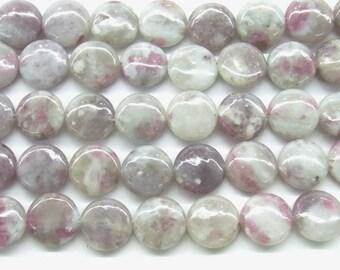 Tourmaline Beads Natural Genuine 14mm Flat Round Pink Beads - 4627  - 15''L Semiprecious Gemstone Bead Wholesale Beads Supply