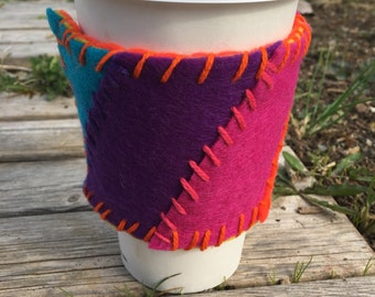 Bright Rainbow and Orange Reusable Coffee Cozy / Rainbow Coffee Sleeve / Rainbow Coffee Cup Coosy / Coffee Cuff / Coffee Cosy / Mother's Day