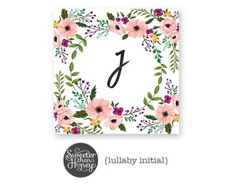 Floral Watercolor Monogram Print » Initial or Name Print » Monogram Art » Floral Wreath » Nursery Monogram Print » Personalized Printable