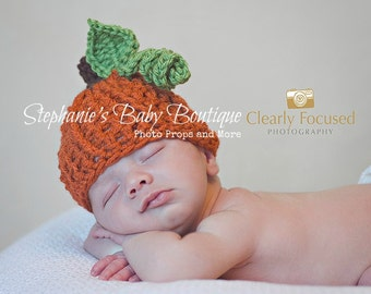 "Crochet Baby Pumpkin Hat, Custom Made, Boy Girl Newborn 0-3M 3-6 Month Cap,  Beanie ""Mommy's Lil Punk'n"" Photo Photography Prop Shower Gift"