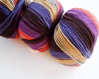 Merino Wool, Self-striping Double Knitting Yarn,  Light Worsted, DK Yarn, Extra Soft Merino Wool, Crochet Yarn, Debbie Bliss Rialto DK Print
