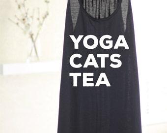 Yoga Cats Tea - Womens Yoga Tank Top - Yoga Top - Yoga Tank Top - Yoga Gift - Gift For Yogi - Cat Lover - Cat Shirt - Yoga Clothes - Yoga