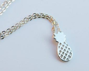 Delicate Pineapple Necklace, Silver necklace, Fruit Necklace, Dainty Necklace