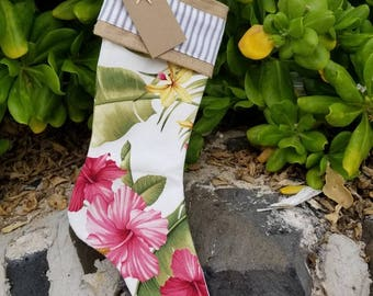 Shabby Chic Hawaiian Print Christmas Stocking with burlap and lace cuff