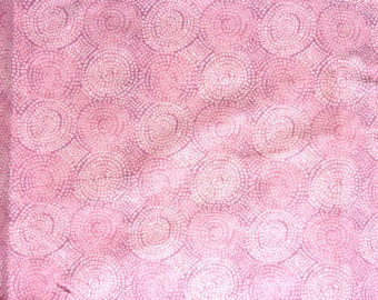 """Light Pink Circle of Dots Cotton Fabric.  42"""" wide x 60"""""""