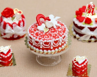 MTO-Cupid and Hearts Valentine's Swirls  Cake - Miniature Food in 12th Scale for Dollhouse