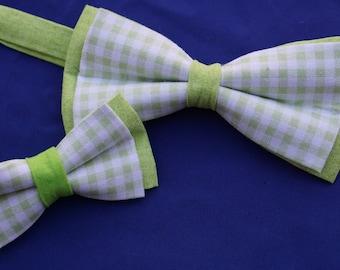 Spring Green Checkered Adjustable Men's Bow Tie