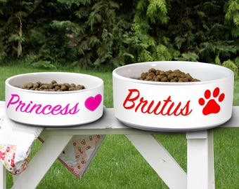 Customized Pet Bowl Dog Bowl Cat Bowl Ceramic Pet Bowl Personalized Animal Lover Custom Name Pet Supplies Paws