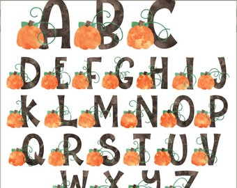Watercolor Pumpkin Alphabet Clipart -Personal and Limited Commercial Use- pumpkins and block letters Clipart