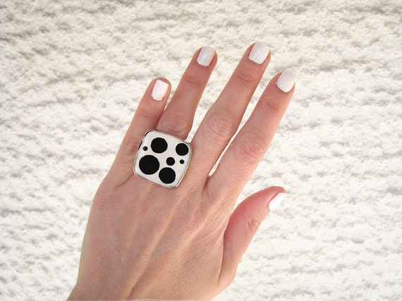Black and white ring, statement ring, dalmatian ring, polka dot ring, modern minimalist big square ring, adjustable stainless steel ring