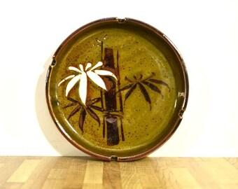 Keramik Aschenbecher Bambus Blatt grünen weissen lackierten Glasur
