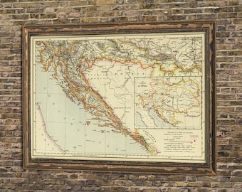 Wall map etsy croatia map old map of croatia wall map print vintage maps restored gumiabroncs Choice Image