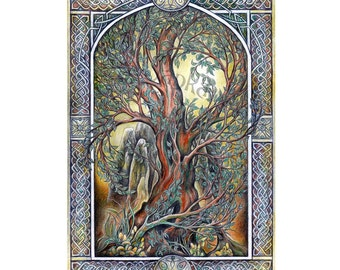 The Tree - Original drawing, fantasy, elven art signed art celtic drawing tree of life nature