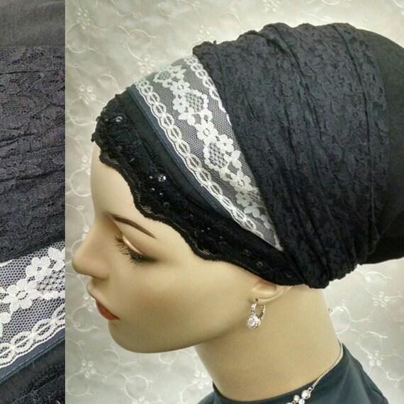 Gorgeous dressy black lace wrapped sinar tichel, head scarf, head wrap, Jewish hair covering, head covering, apron tichel, hair snood, black