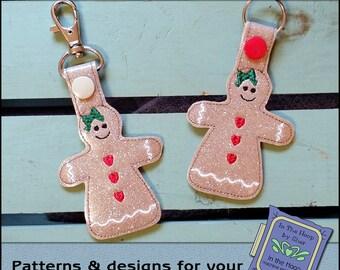 ITH Gingerbread Girl Key Fob - Christmas Bag Tag - Vinyl Key Fob with Snap Tab - Machine Embroidery Design
