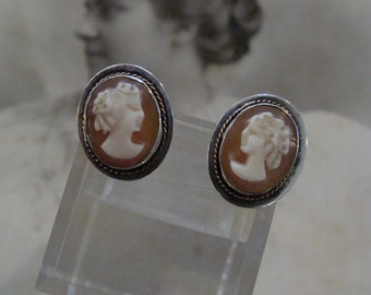 Antique Sterling Silver Carved Shell Cameo Pierced earrings