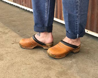 Vintage Brown Leather Clogs Tan Mules with Brass Toe Cap and Tacs
