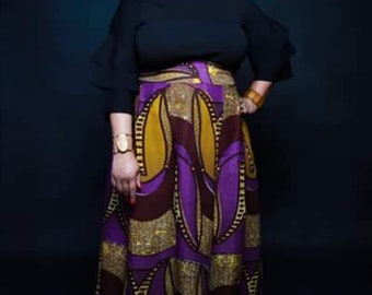 Purple African Print Maxi Skirt with Pockets...or Choose a different print