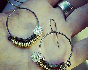 Wanderlust - Mixed metal earrings,- Swarovski crystals, brass and steel awesome