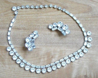 Outrageously Gorgeous Vintage Rhinestone Necklace and Earring Set