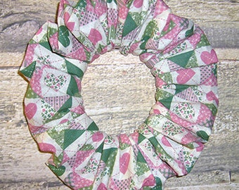 Heart Quilt Patchwork Print Hair Scrunchie, Holiday Ponytail Holder, Fabric Hair Tie