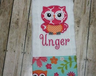 Personalized burp cloths- Owl Burp Cloth-Baby Girl Burp Cloth-Monogram Burp Cloth-Burp Cloths-applique-Embroidery