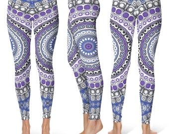 Tribal Leggings, Blue and Purple Mandala Leggings, Aztec Style Leggings, Festival Pants, Yoga Pants