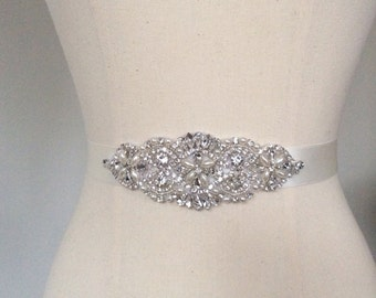 Bridal Belt, Wedding Sash, Rhinestone Belt, Beaded Belt, Thin Bridal Sash, Skinny Bridal Belt, Thin Wedding Belt, Best Friend Bridal