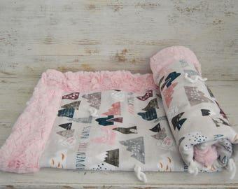 Adventure Awaits Minky Blanket ~ Girl Baby Blanket ~ Outdoor Minky Blanket ~ Woodland Minky Blanket ~ Designer Minky Blanket