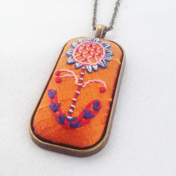 Stitched Floral Pendant / Embroidered Flower Necklace / Mandarin Orange Silk / Gift For Her