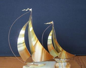 Vintage Brass Double Sailing Boats on Onyx Base Signed Demott