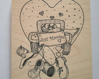 Just Married Rubber Stamp - 184M02