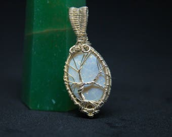 Opal Tree of Life Sterling Silver Wire Wrapped Pendant