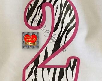 Zebra Print Birthday Numbers iron on tshirt transfer