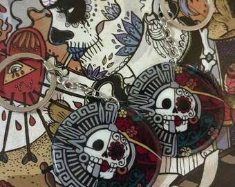 Catrina Azteca dia de Los muertos Keychain