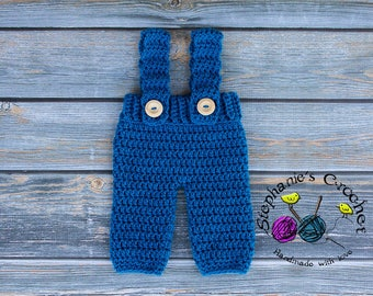 Crochet Newborn baby boy pants & suspenders, longies crochet Newborn pants photo props photography boy-Made to order